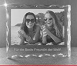 VIP-LASER 2D GRAVUR Glas Kristall Facettierte Scheibe im Querformat XL mit dem Foto Deiner besten Freundin. Dein Wunschfoto für die Ewigkeit mitten in Glas! Groesse XL = 80x100x20mm