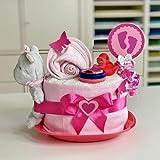Windeltorte / Pamperstorte > Babygeschenk für Mädchen in schönem Rosa - Pinkton // Geschenk zur Geburt, Taufe, Babyparty // originelles und praktisches Geschenk für Babys