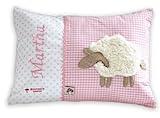 Namenskissen Babykissen I Kissen mit Namen personalisiert I Taufgeschenk Geburtsgeschenk I Schaf I von Glückspilz I rot