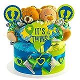 Windeltorte / Pamperstorte >> Babygeschenk für Zwillinge in schönem Blau-Grünton // Geschenk zur Geburt, Taufe, Babyparty // originelles und praktisches Geschenk für Babys